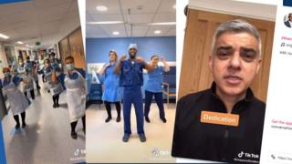 A three-part composite shows the nurses dancing, with the mayor of London Sadiq Khan in a video message to them too
