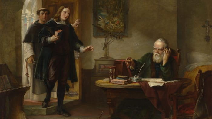 English poet John Milton visiting Galileo when he was a prisoner of the Inquisition.
