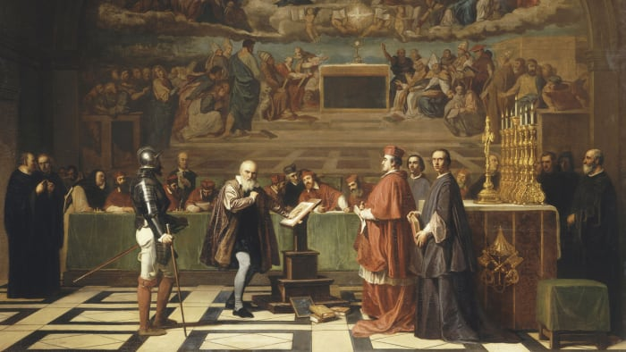 Galileo Galilei before the members of the Holy Office at the Vatican in 1633.