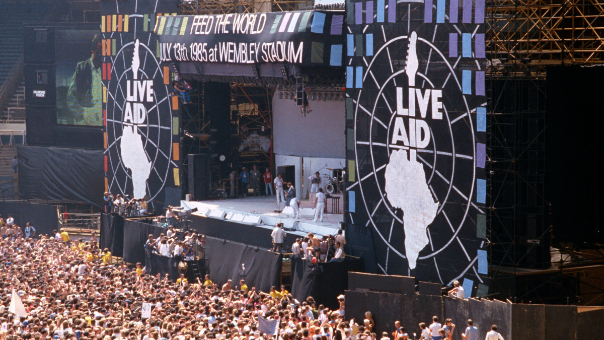 Live Aid concert raises $127 million for famine relief in Africa