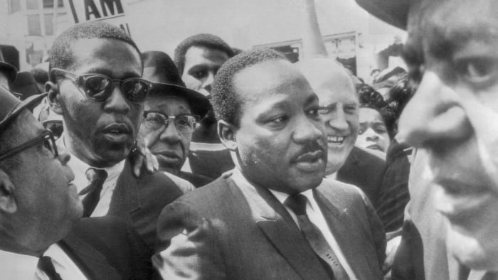 Martin Luther King Jr. at the Memphis sanitation workers strike, 1968