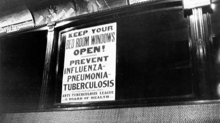 View of a health warning about influenza, from the Anti-Tuberculosis League, displayed inside a public transport vehicle, 1918-1920.