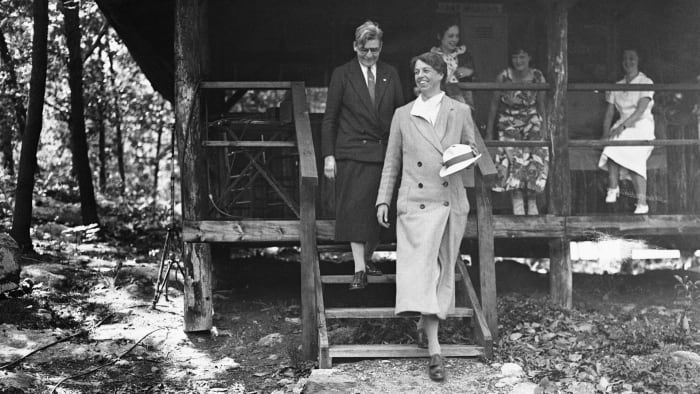 First Lady Eleanor Roosevelt visiting Tera Camp in Bear Mountain, New York for unemployed women, which was opened at the suggestion of herself and Secretary of Labor Frances Perkins, in 1933.