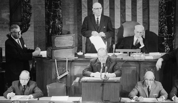 In a ceremonial joint session, Congress tabulated Richard Nixon's Electoral College Presidential victory January 6, 1969.