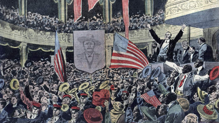 A meeting of the Progressive Party in Chicago supporting candidate Theodore Roosevelt for the 1912 election.
