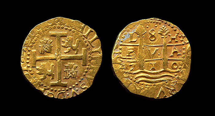 Rare 8 Escudos Lima dated 1710, recovered from the fleet of 1715.