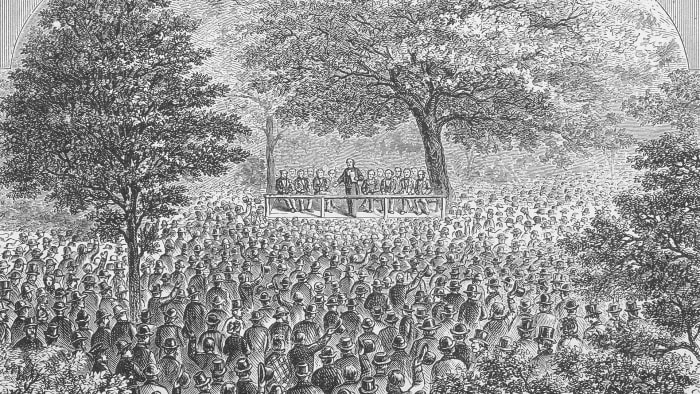 The first Republican National Convention, in Jackson, Michigan, 1854.