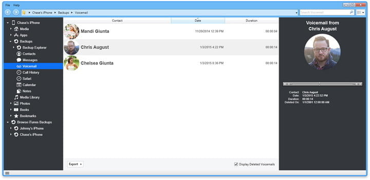 Image of iexplorer voicemail contacts