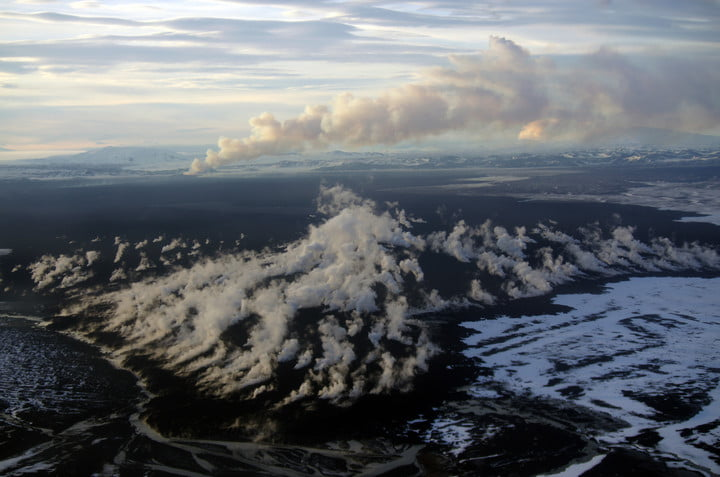 Holuhraun lava flow field in Iceland where Christopher Hamilton and team are testing new ways for drones and rovers to work together to explore Mars