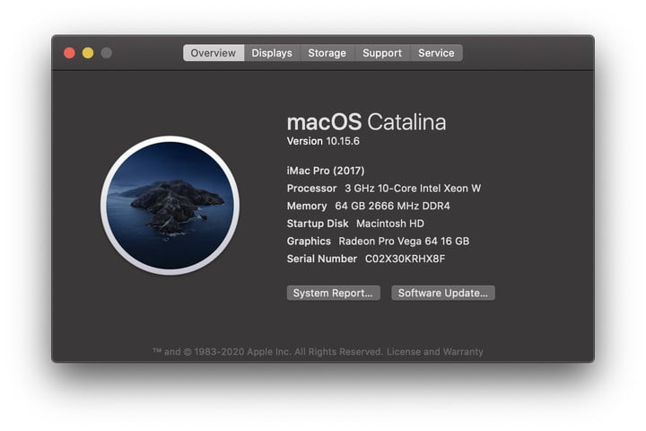MacOS Catalina About This Mac