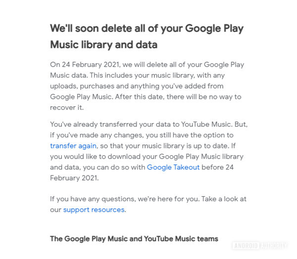 Google Play Music email