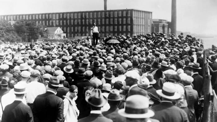 Crowd in the street during a strike, 1927
