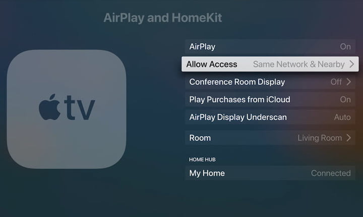 Apple TV AirPlay Allow Access