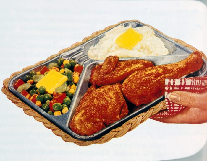 Advertisement for a televised dinner.