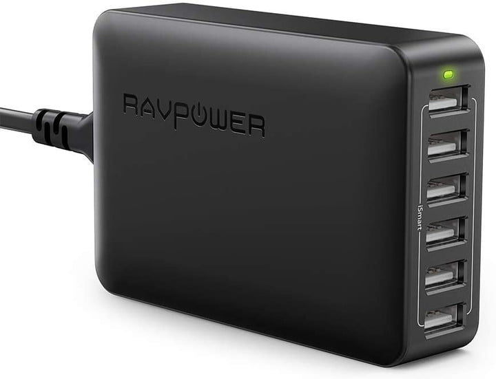 Picture shows a black USB charging station from RAVPower with 6 USB ports