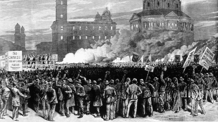 Large Workers Party rally outside San Francisco City Hall expressing anger at Chinese immigrants on the West Coast, c.  1880.