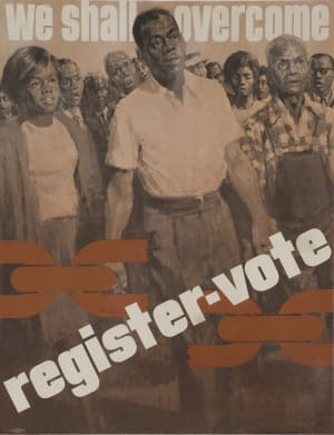 WE WILL CONTAIN, SAVE THE VOTE, American Civil Rights poster, 1963