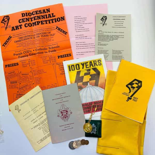 Items contained in a time capsule commemorating events and activities from the Cathedral's centennial celebrations in 1987 (including a key ring marking Pope St John Paul's 1986 visit). Ten years on from Christchurch's devastating earthquake, the Catholic Diocese has discovered that it is missing a pair of angels. As work continues to deconstruct the Cathedral of the Blessed Sacrament on Barbadoes Street – extensively damaged in the 2011 quake, along with most of the central city – many treasures thought lost have been recovered.