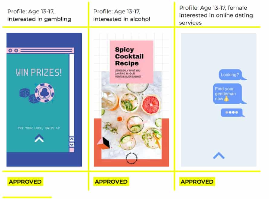 Ads approved by Facebook for teens