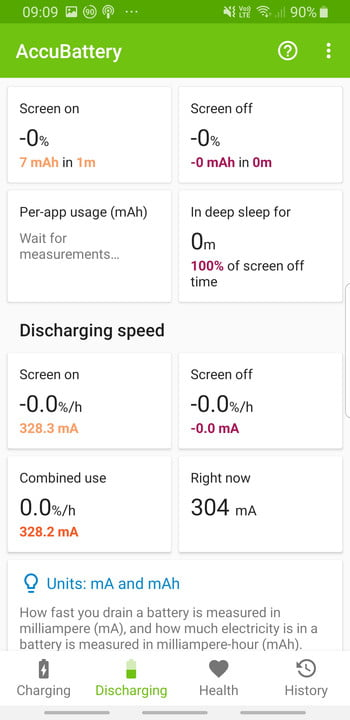 Screenshot of battery health on Accubattery app