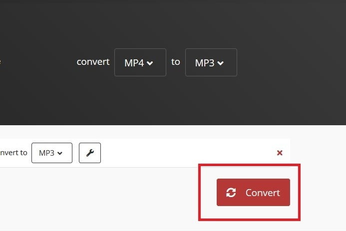 Cloud convert convert button for mp4 to mp3