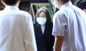 Taiwan President Tsai Ing-wen arrives at Hualien hospital a day after a deadly train derailment in a tunnel north of Hualien.
