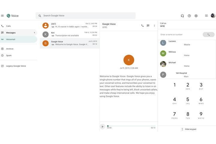 Google Voice on Web