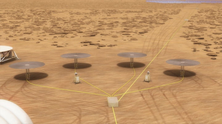Concept for a fission power system on the surface of Mars using four 10-kilowatt units.