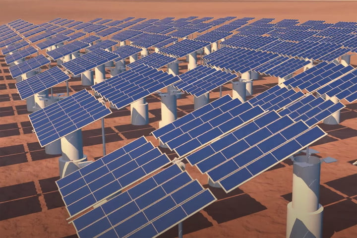 solar panels on mars concept image