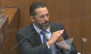 Minneapolis police Lt Johnny Mercil, a use-of-force trainer, testifies in the trial of former Minneapolis police officer Derek Chauvin at the Hennepin county courthouse in Minneapolis.