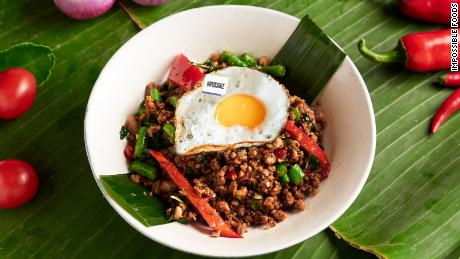 The loser & # 39;  meatless & quot;  How many beef and a fried egg in a dish served as a music krapow Siam, a restaurant in Hong Kong.