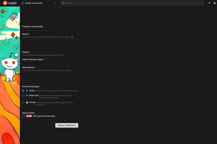 Subreddit web form screenshot