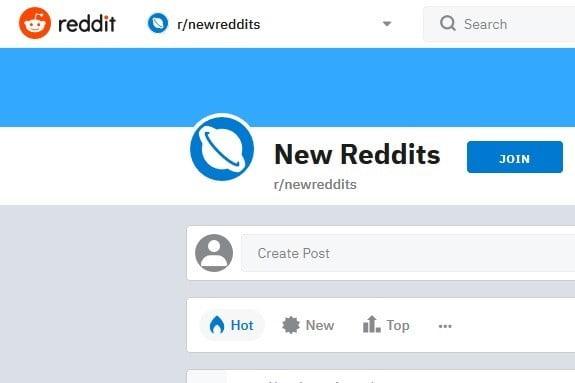 Screenshot of New Reddits subreddit
