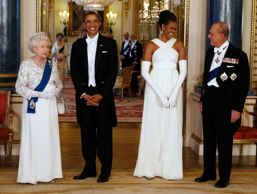 Queen Elizabeth and the then US president Barack Obama pose with first lady Michelle Obama and Prince Philip at Buckingham Palace before a state banquet in 2011.