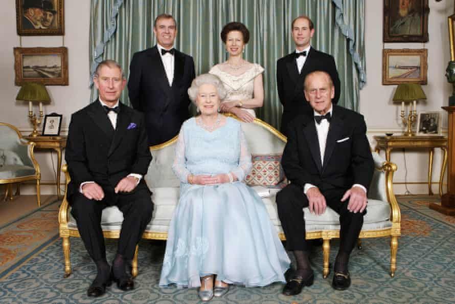 Queen Elizabeth and Prince Philip at Clarence House with Prince Charles, Prince Edward, Princess Anne and Prince Andrew for a dinner to mark the couple's diamond wedding anniversary in 2007.