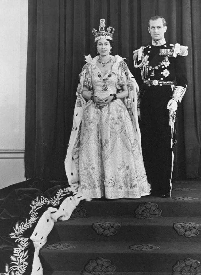 Queen Elizabeth II and Prince Phillip on Coronation Day in 1953.