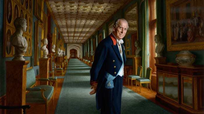 A painting of Prince Philip, The Duke of Edinburgh is pictured in the year of his retirement from public engagements taking place in the Grand Corridor of Windsor Castle with him depicted wearing the Order of the Elephant belt, the highest distinction of Denmark in 2017 in England.
