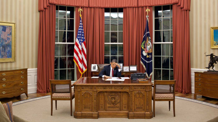 President Barack Obama changes his remarks in the Oval Office before making a televised statement detailing the mission against Osama Bin Laden, May 2011