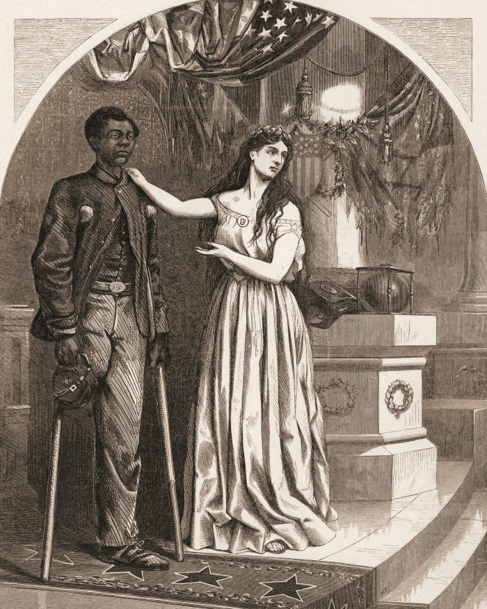 """Editorial cartoon, by Thomas Nast, commenting on the denial of the right to vote for Black Civil War veterans with the caption, """"Franchise, and not this man?"""", C. 1865."""