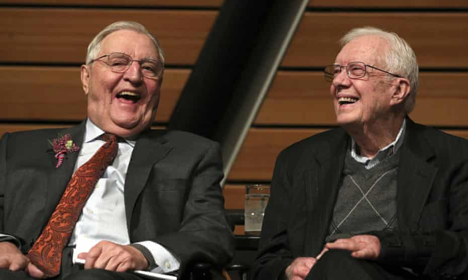FILE - In this Saturday, Jan. 13, 2018, file photo, Mondale onstage with Carter during a celebration of Mondale's 90th birthday on 13 January 2018, at the McNamara Alumni Center on the University of Minnesota's campus, in Minneapolis.