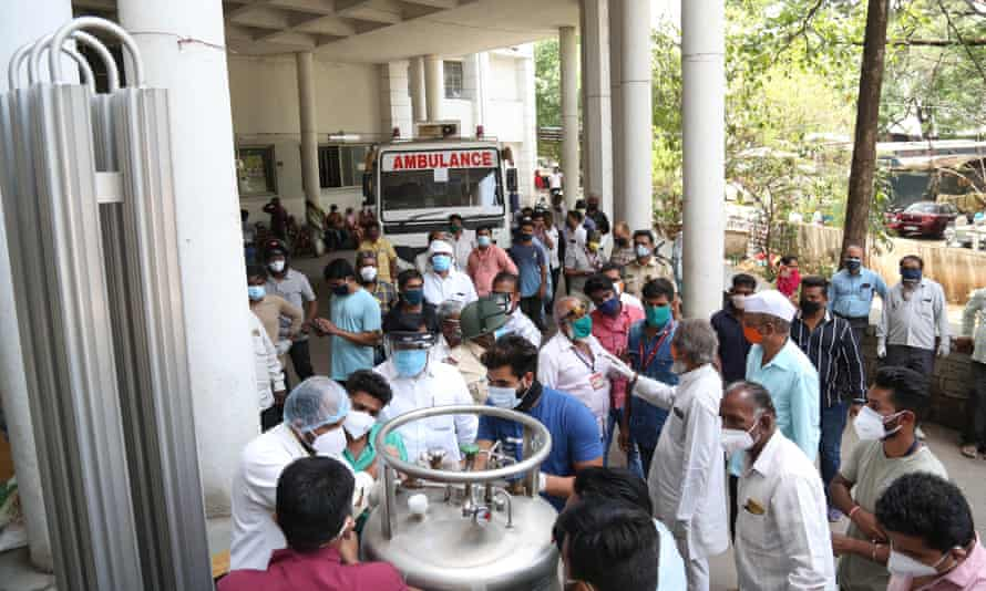 Indian hospital staff fix the leak in their oxygen plant after a leak killed 22 Covid-19 patients in Nashik, India.