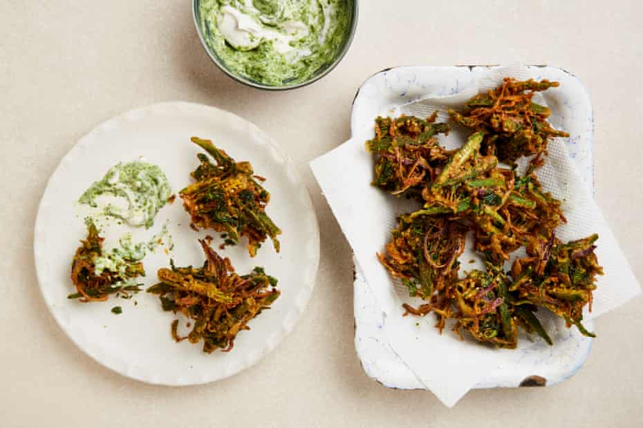 Yotam Ottolenghi's okra and red onion bhajis with mint yoghurt.