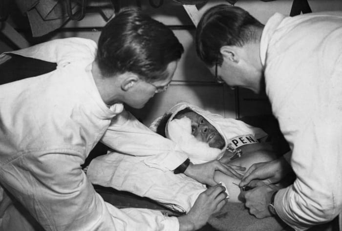Injured British Pvt.  F. Harris waits for a doctor to inject penicillin for an operation on a hospital train en route to a station in England.  Harris was injured in an attack on a position in Normandy.