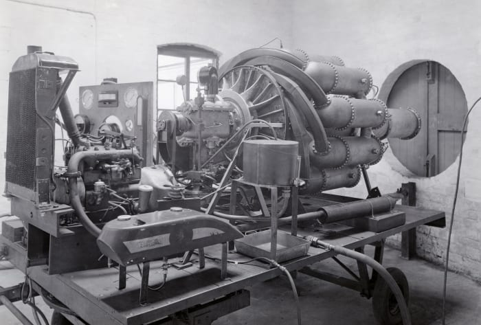 The first jet propulsion engine designed by Frank Whittle, c.  1938. In May 1941, the jet engine took off from Cranwell in the first real proof that jet propulsion was a viable alternative to the propeller.