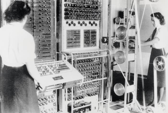 The women seen here were from the Women's Royal Naval Service, (WRNS) October 1943. Colossus was the world's first programmable electronic computer at Bletchley Park in Buckinghamshire, where cryptographers deciphered top-secret military communiques between Hitler and his armed forces.