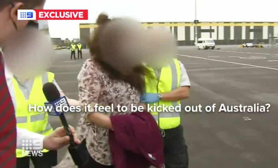 A Channel Nine crew questions non-citizens being deported in February