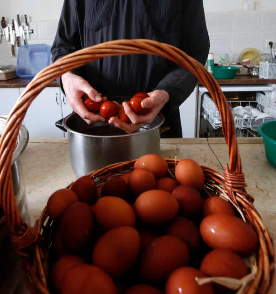 A traditional Lebanese Easter tradition includes eggs dyed with red onion skins and an egg-cracking competition.