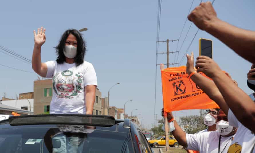 Keiko Fujimori waves to supporters in Lima, Peru, on 8 April.