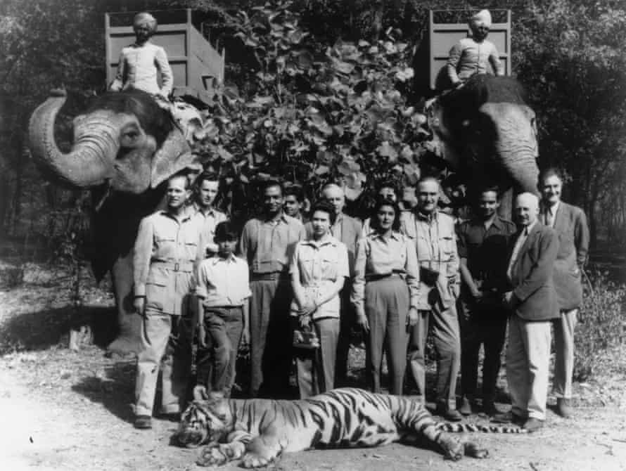 Prince Philip (left) with Prince Jagat-Singh (with his foot on the tiger's head), the Maharajah of Jaipur, Queen Elizabeth and the Maharanee of Jaipur. The tiger was shot by Philip during a hunt on the royal tour of India in 1961.