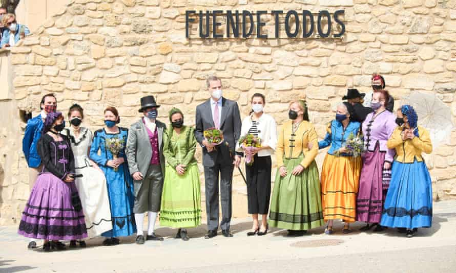 King Felipe VI and Queen Letizia visit Fuendetodos on 29 March ahead of the celebrations marking Goya's birth